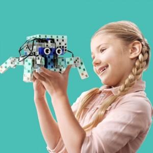 Girl holding robot coding