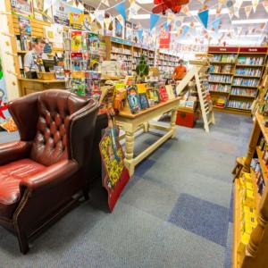inside a colourful bookshop